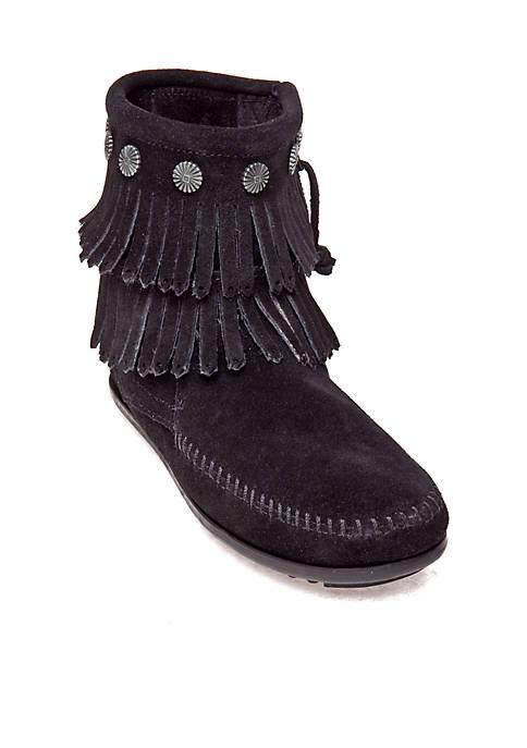 Minnetonka Double Fringe Side Zip Boot Belk