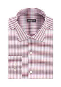 Big & Tall Long Sleeve Mini Grid Dobby Button Front Shirt