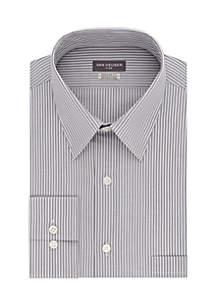 Big & Tall Long Sleeve Stripe Button Front Shirt