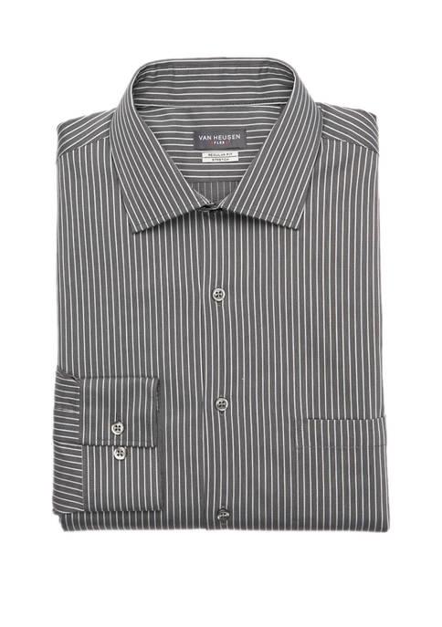 Mens Regular Fit Flex Stripe Button Down Shirt