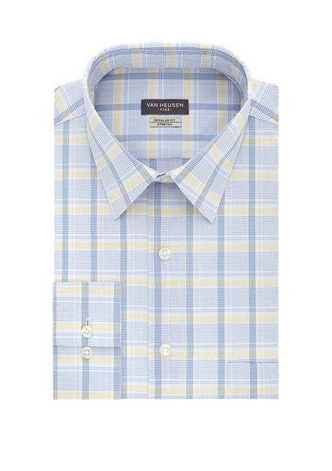 Mens Stretch Regular Fit Check Print Dress Shirt