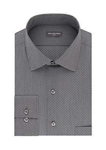 Big and Tall Long Sleeve Mini Print Button Down Shirt