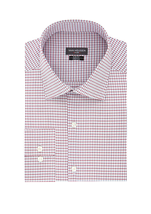 Slim Fit Red Blue Check Button Down Shirt