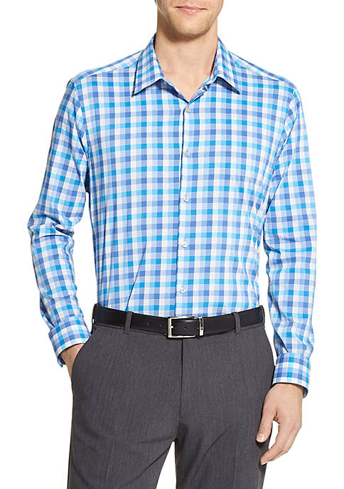 Slim Fit Flex Stretch Large Check Dress Shirt