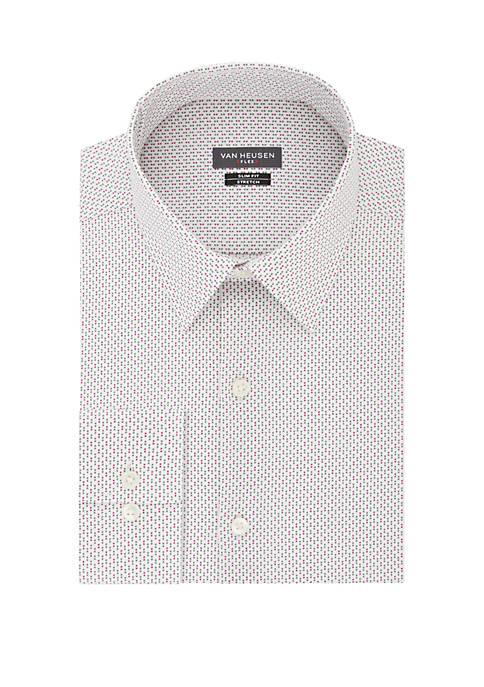 Slim Fit Flex Stretch Square Print Dress Shirt