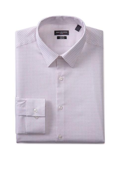 Mens Slim Fit Flex Pin Dot Button Down Shirt