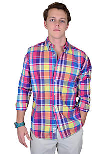 Long Sleeve Woven Madras Plaid Shirt