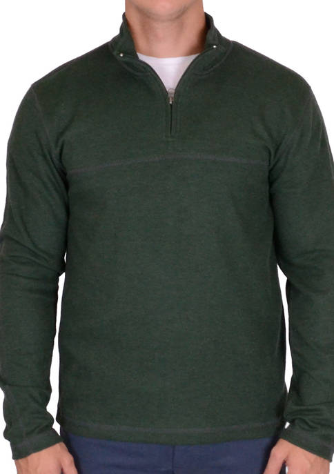 Mens Ribbed Quarter Zip Pullover