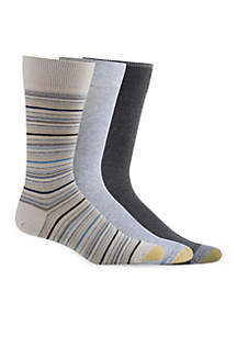 Big & Tall Fashion Multi Stripe And Solid Socks - 3 Pack