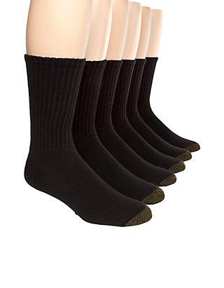 Gold Toe Men/'s Black Cotton Crew Athletic Sock 12-Pair Sock Size 10-13