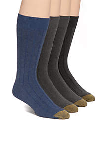 4 Pack Sheffield Rib Socks