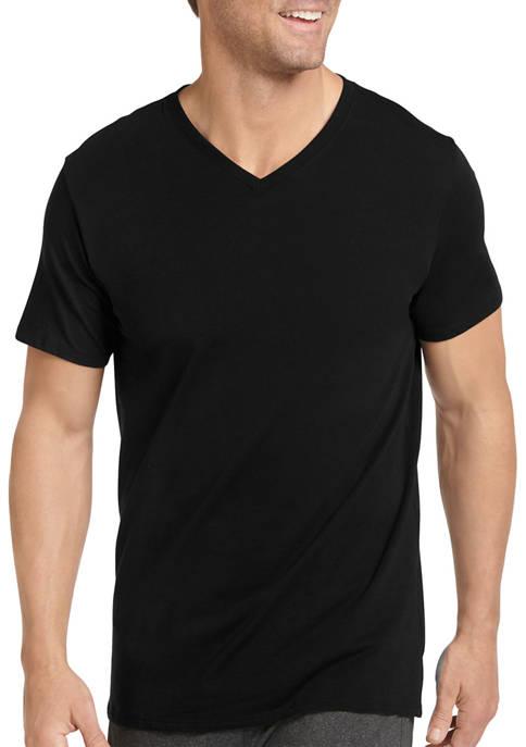 3 Pack Cotton Stretch V Neck T-Shirts