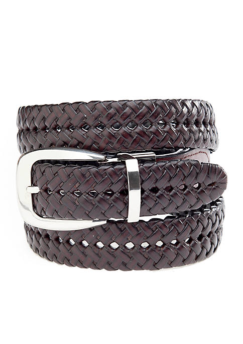 Saddlebred® Braided Brown Leather Casual Belt