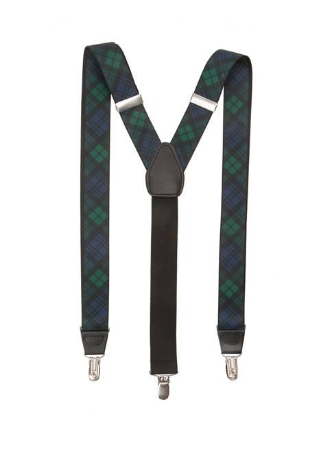 Saddlebred® 32 Millimeter Printed Stretch Plaid Tartan Suspenders