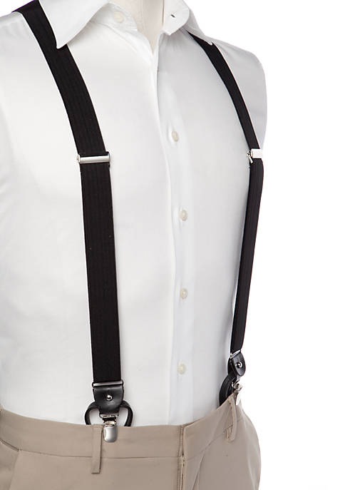 Textured Black Stretch Clip Suspenders