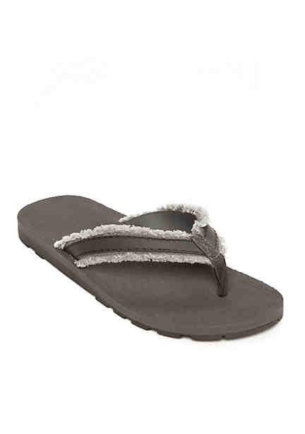 Saddlebred® Frayed Canvas Thong with Cushion Back ...