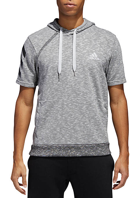 adidas Basketball Short Sleeve Hoodie-Gray