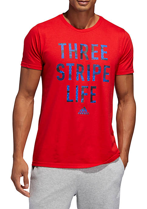 adidas Three Stripe Life Short Sleeve Graphic T-Shirt