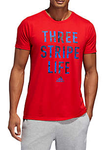 adidas Three Stripe Life Short Sleeve Graphic T-Shirt