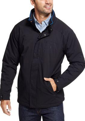 Izod Mens Water Resistant Mid Weight Jacket With Polar Fleece Lining