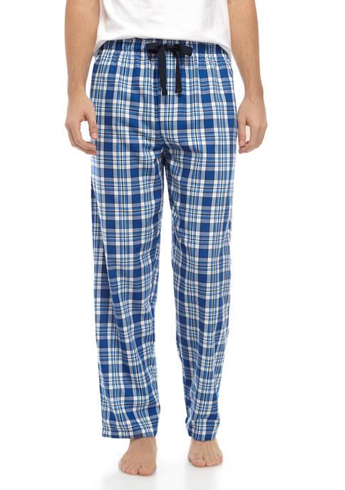 IZOD Mens Blue Plaid Sleep Pants