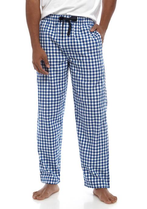 IZOD Mens Blue Gingham Sleep Pants
