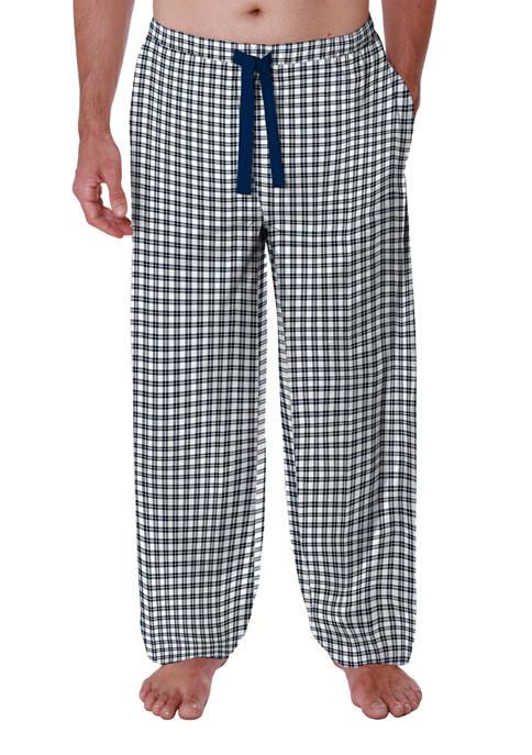 IZOD Navy and White Checkered Twill Pajama Pants