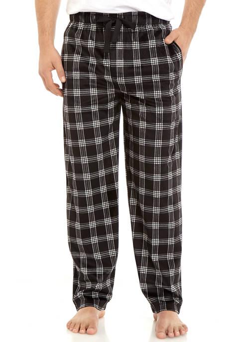 IZOD Mens Silky Fleece Plaid Pajama Pants