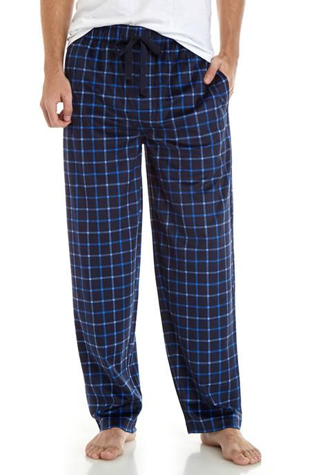 IZOD Mens Silky Fleece Navy Windowpane Plaid Pajama