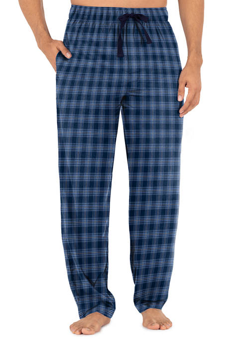 IZOD Silky Fleece Pajama Pants- Navy Blue Plaid