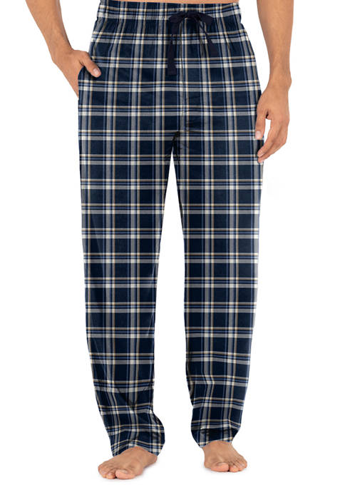 IZOD Silky Fleece Pajama Pants-Blue and White Plaid