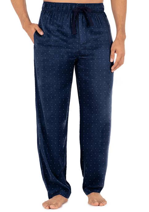 Silky Fleece Pajama Pants- Navy Dots