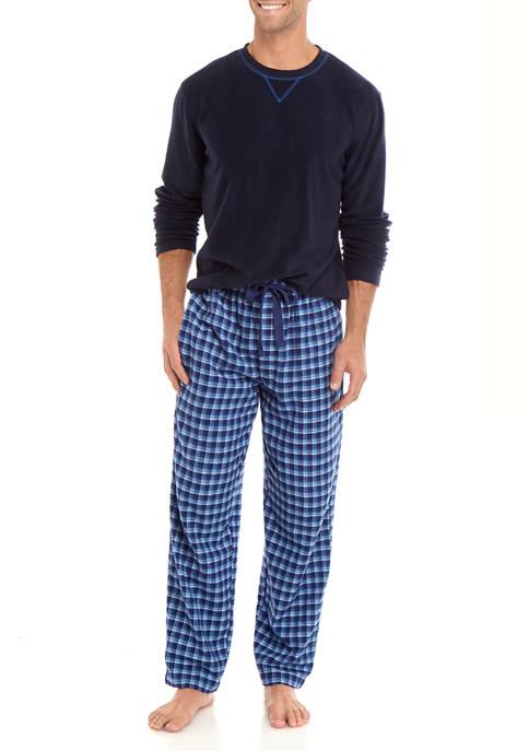 IZOD Boxed Navy Microfleece Shirt and Pant Set