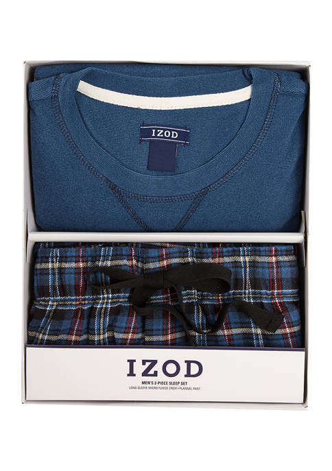 IZOD Microfleece Flannel Boxed Pajama Set