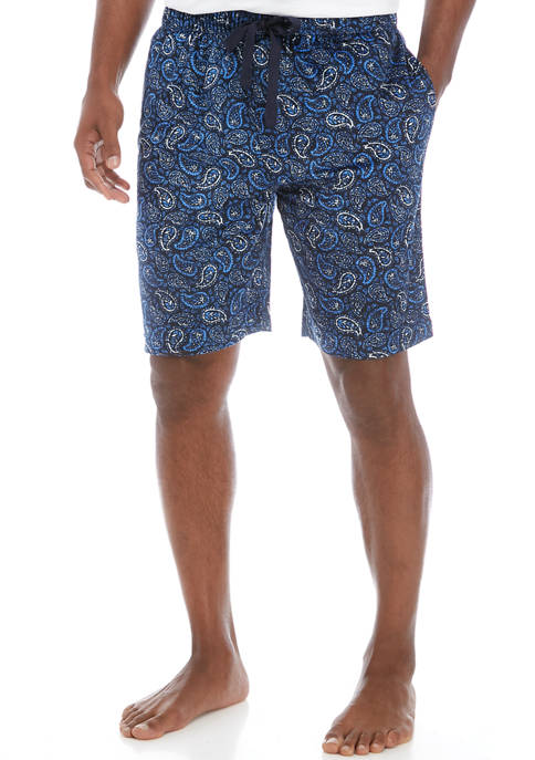 Mens Polyester Light Touch Paisley Pajama Shorts