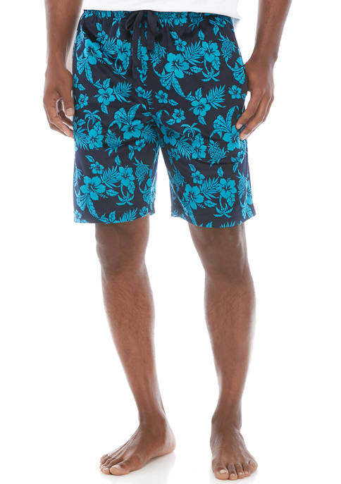 IZOD Mens Polyester Light Touch Floral Pajama Shorts