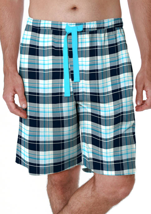 IZOD Blue Plaid Light Touch Pajama Shorts