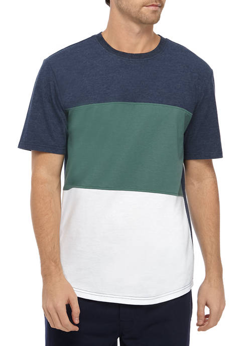 IZOD Mens Short Sleeve Color Block T-Shirt