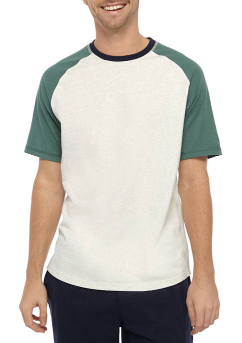 IZOD Mens Short Sleeve Raglan Color Block T-Shirt