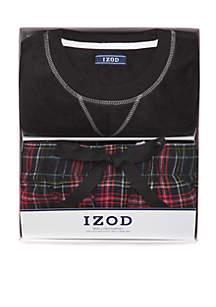 Boxed Plaid Top Sleep Pants Loungewear Set
