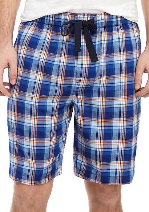 Blue Plaid Pajama Shorts