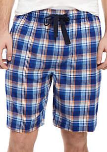 IZOD Blue Plaid Pajama Shorts