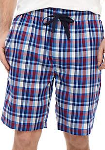 IZOD Red and Blue Plaid Pajama Shorts
