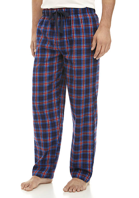 IZOD Navy and Red Plaid Sleep Pants