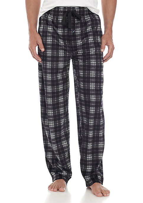 IZOD Silky Fleece Black Grey Plaid Sleep Pant