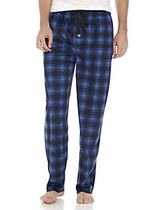 Silky Fleece Black and Blue Plaid Sleep Pant