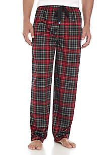 Silky Fleece Black and Red Plaid Sleep Pant