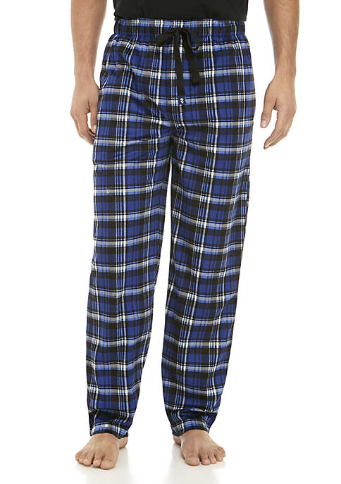 IZOD Black and Blue Window Pane Pajama Pants