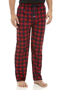 IZOD Silky Fleece Navy and Red Buffalo Plaid Sleep Pants