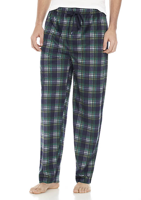 IZOD Silky Fleece Navy and Hunter Plaid Sleep
